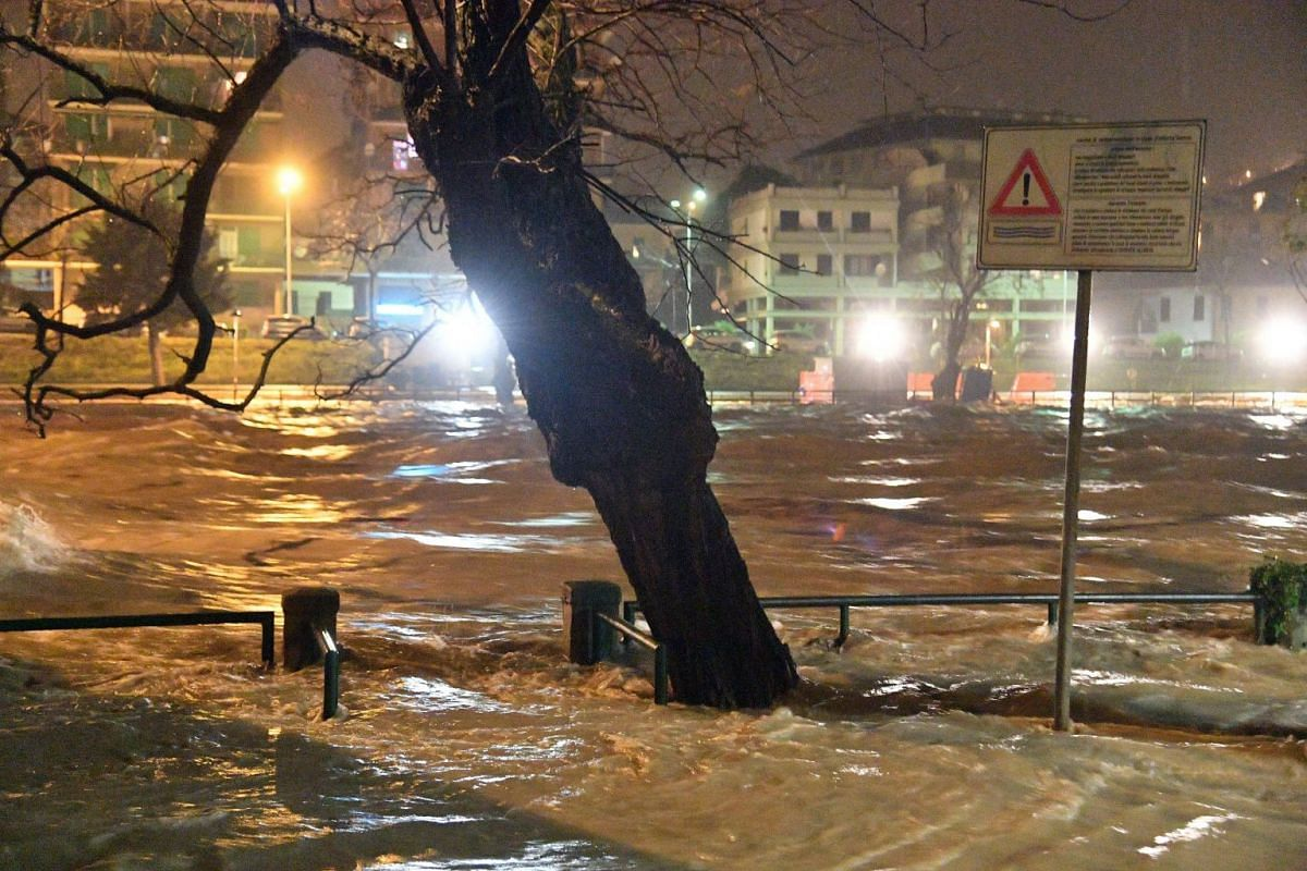 A general view of the river Entella after heavy downpours and flood in between Chiavari and Lavagna, near Genoa, Italy, on Dec 11, 2017