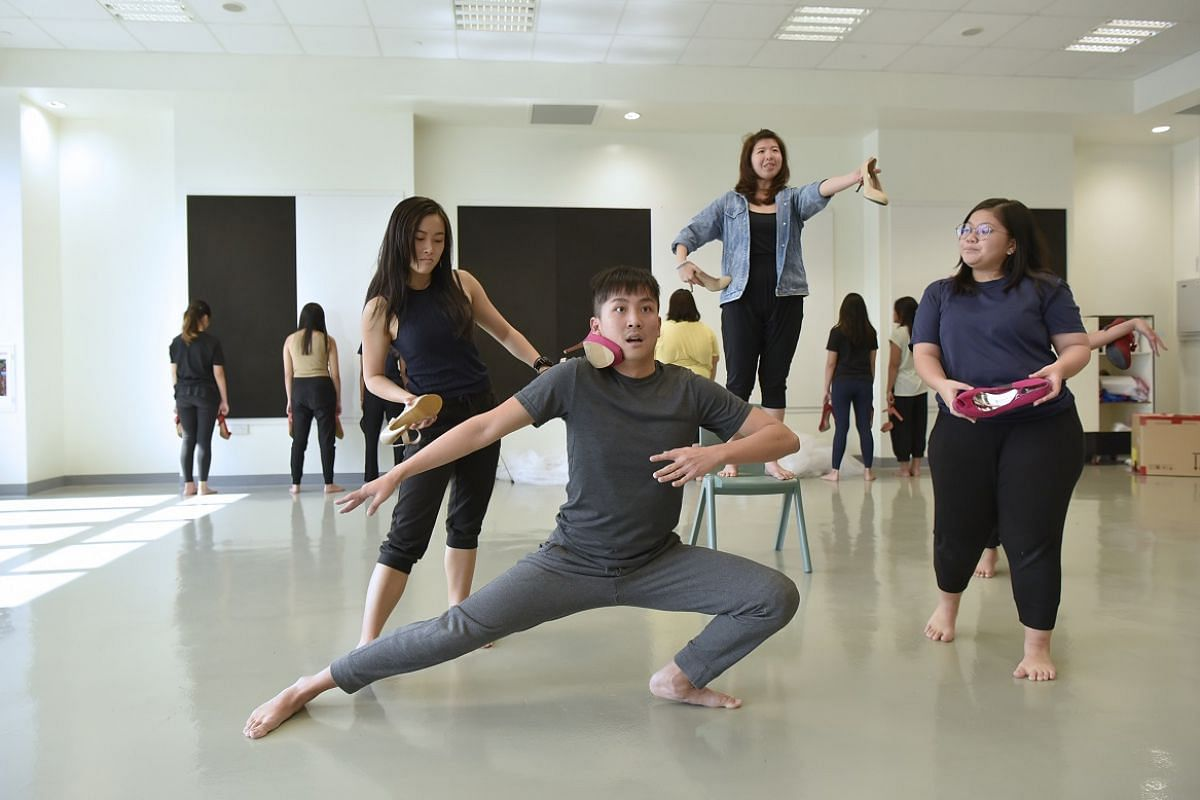 Nanyang Academy of Fine Arts students rehearsing for movement performance Step Outta Line.