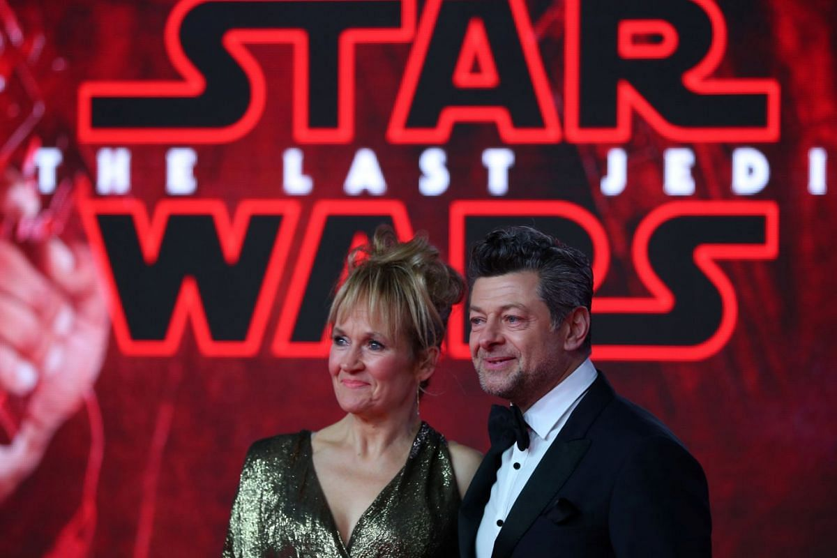 Actors Andy Serkis and Lorraine Ashbourne arrive for the European premiere of Star Wars: The Last Jedi, at the Royal Albert Hall in central London.