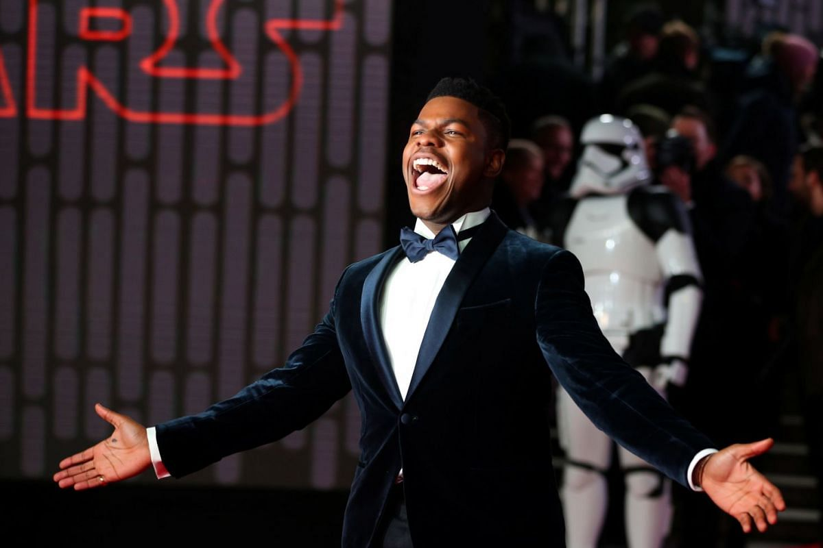 Actor John Boyega poses for photographers at the European premiere of Star Wars: The Last Jedi, in London.