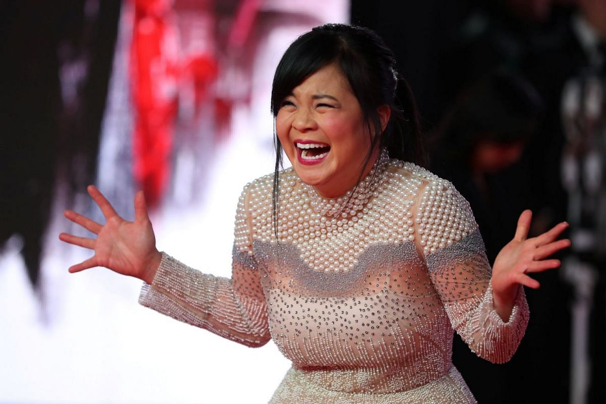 Actress Kelly Marie Tran at European premiere of Star Wars: The Last Jedi, at the Royal Albert Hall in London.