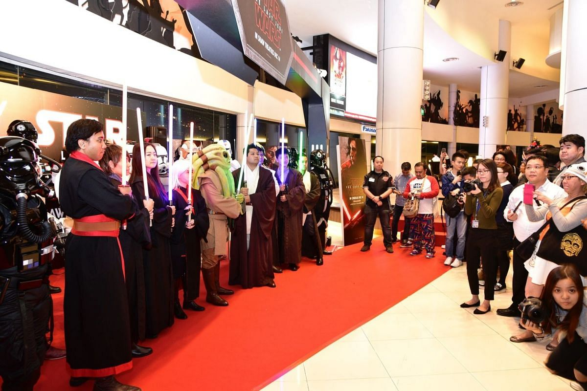 Members of the 501st Legion and FightSaber Singapore at the Star Wars movie premiere.