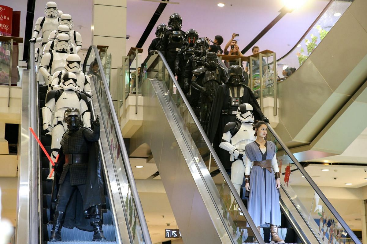 People dressed as characters from Star Wars take part in an event held for the release of the film 'Star Wars: The Last Jedi' in Bangkok, Thailand, December 13, 2017.