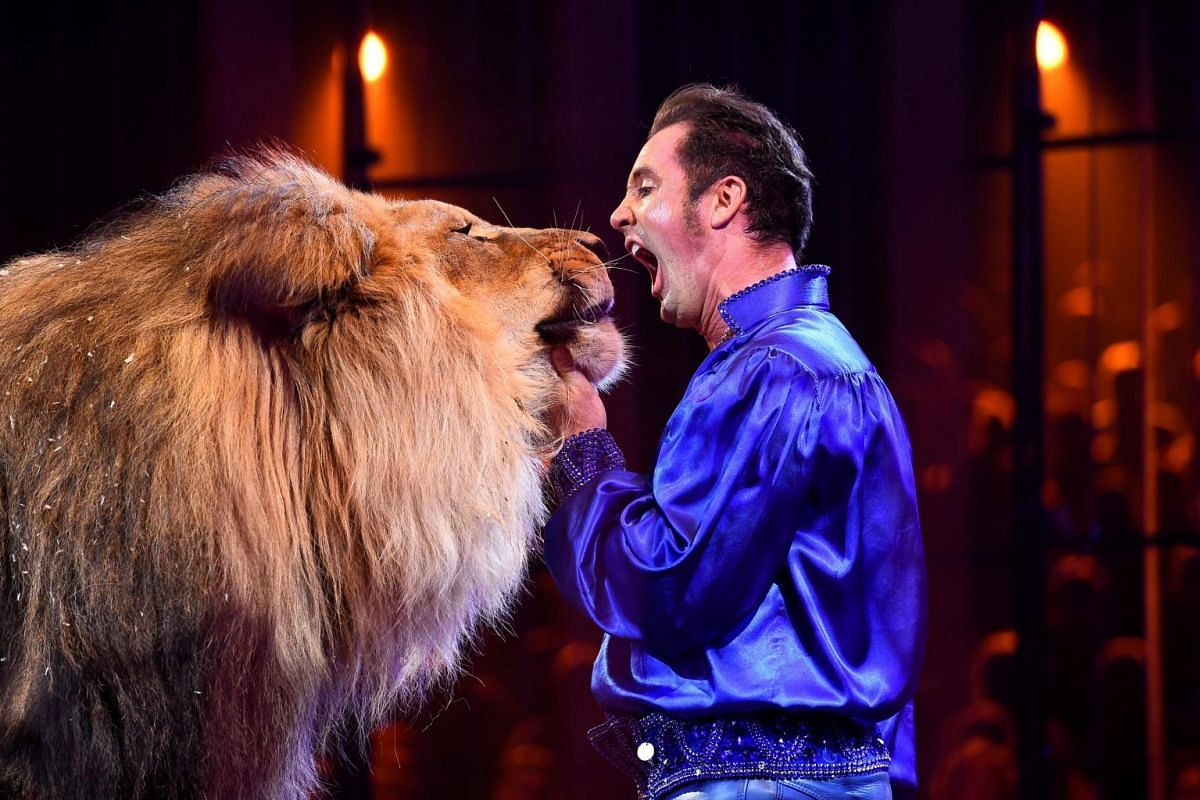 US artist Alexander Lacey (R) performs with a lion during the gala of the 40th Monte-Carlo International Circus Festival in Monaco. The City of Paris pledged on Dec 13, 2017, to become a city without wild animals in circuses, without deadline and by