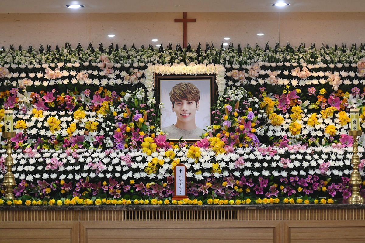 Jonghyun's portrait is displayed at the memorial hall.