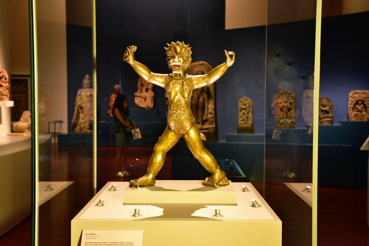 """The 18th-century bronze of Simhavaktra from Tibet, a lion-headed female wearing a human skin, represents a """"sky-walker"""" who guides followers of Buddhism along the path to enlightenment."""