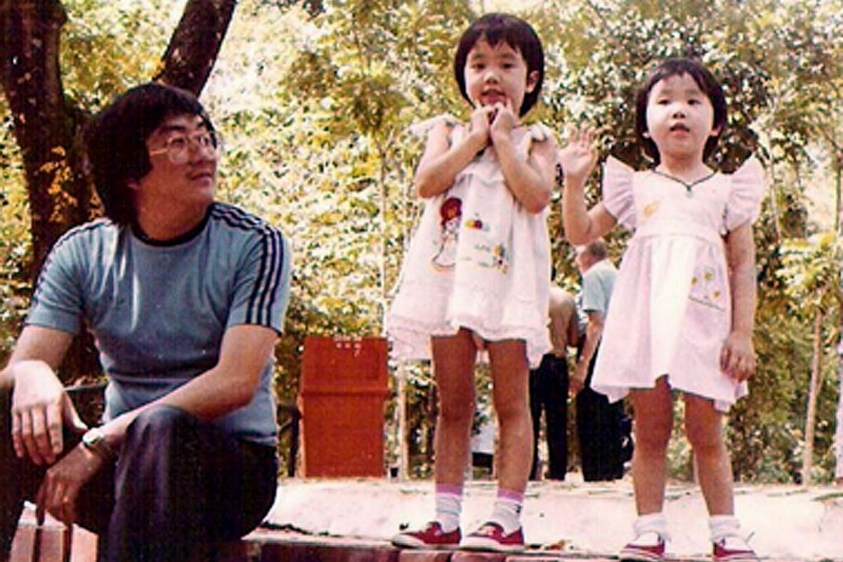 (Left) Ms Daphane Loke as a toddler with her father, Mr Cliff Loke, and elder sister, Alicia. (Right) She and her husband, Mr Ian Choo, on a holiday in Perth two years ago with their children, Logan and Lorraine. Ms Daphane Loke started Saybons as a