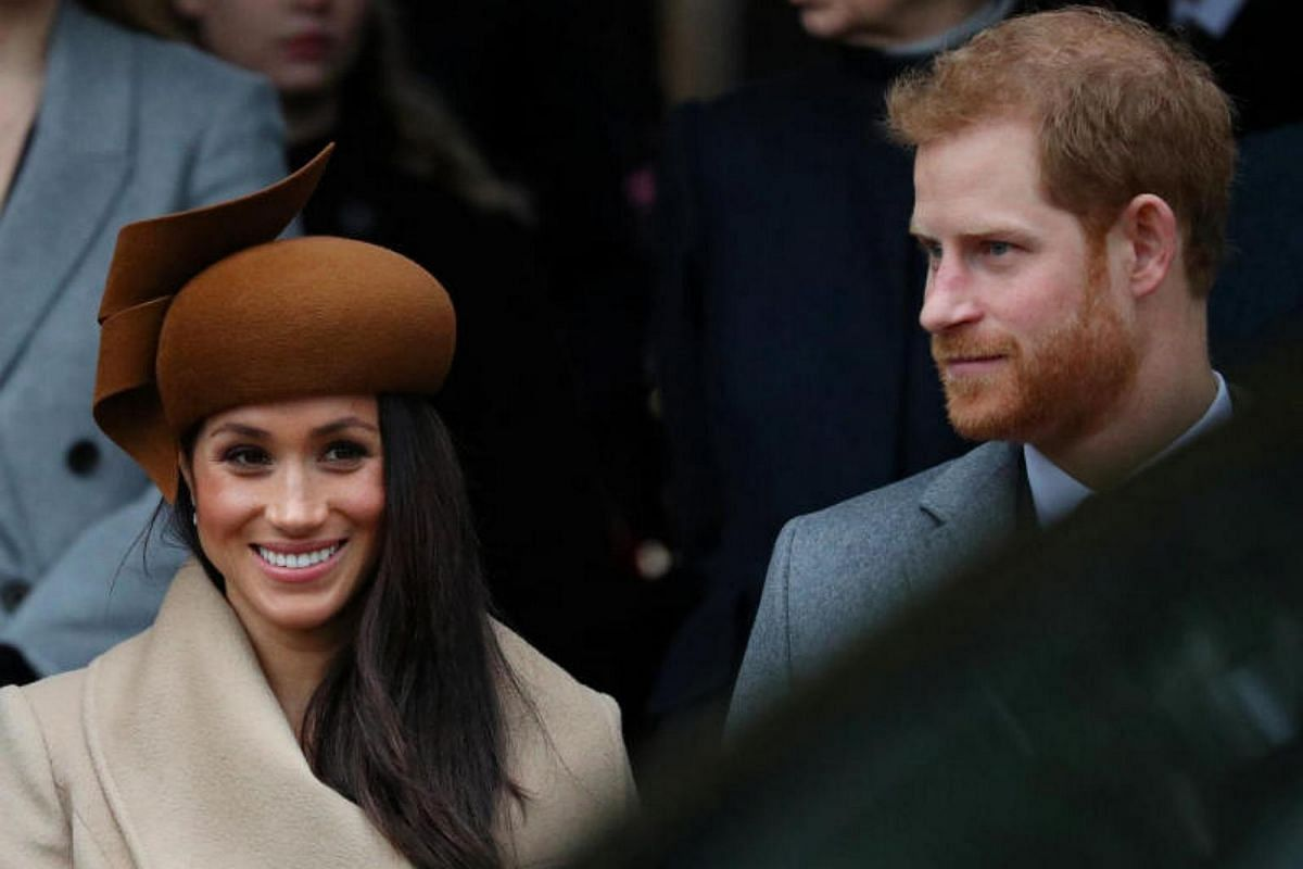 Prince Harry and his fiancee Meghan Markle leaving the service. In a break from tradition, the conventions of the annual event were relaxed to allow Ms Markle to attend the service with Prince Harry.