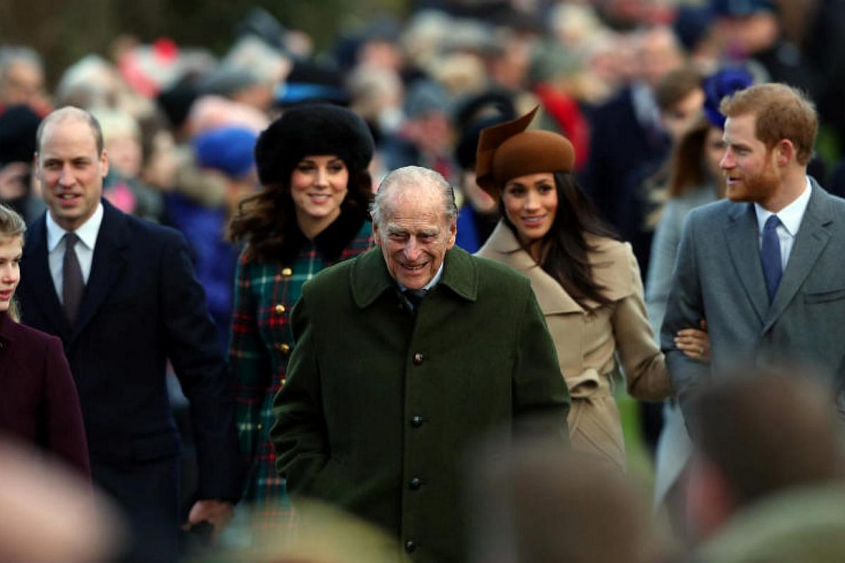 Britain's Prince Philip, the Duke of Edinburgh, leading members of the royal family to the annual Christmas Day service on Dec 25, 2017.