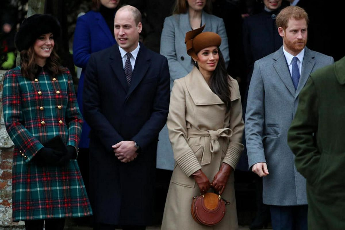(From left) Catherine, the Duchess of Cambridge, Prince William, Meghan Markle and Prince Harry leaving St Mary Magdalene Church, in Sandringham, Norfolk.