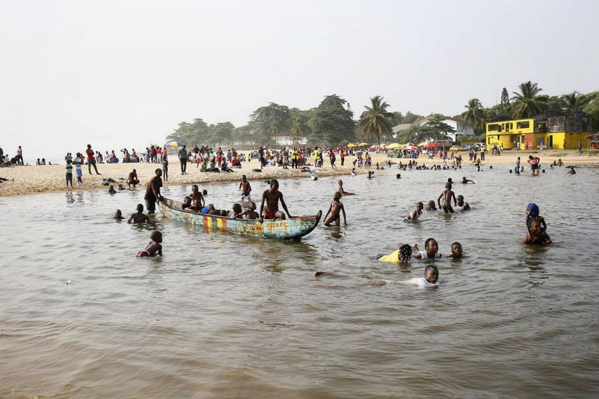 Children having a good time at the Barnards beach as part of Christmas celebrations in Monrovia, Liberia.