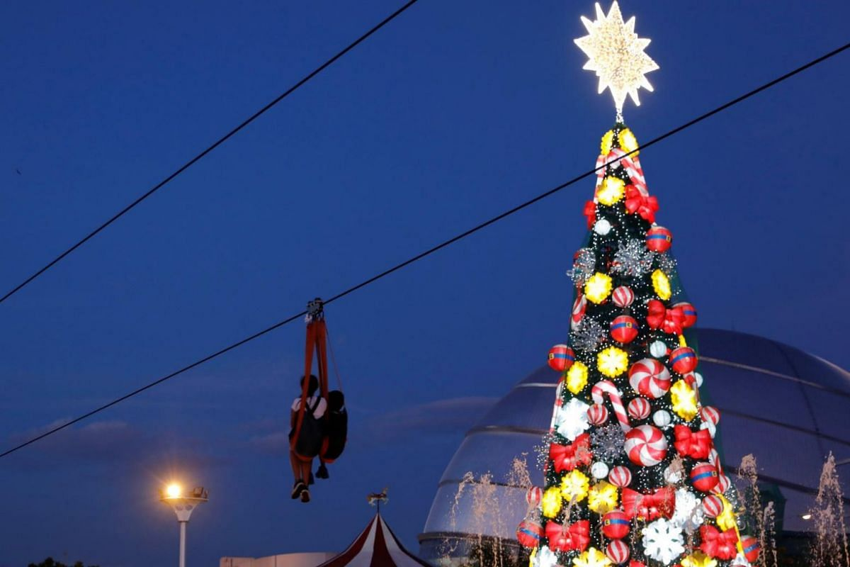 A zipline passes through a lighted Christmas tree installation at a amusement park during holiday season in Pasay, Philippines.