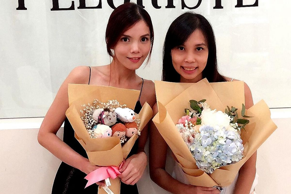 With Every, co-founded by Ms Kristle Kwok (left) and Ms Natalie Seng, specialises in bespoke flower arrangements and subscription flowers. Beverly's Blooms' Ms Min Yong includes handwritten notes in the bouquets if they are gifts. Fleuriste Boutique