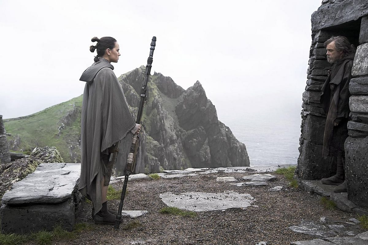 Actress Daisy Ridley and Mark Hamill playing Rey and Luke Skywalker in The Last Jedi.
