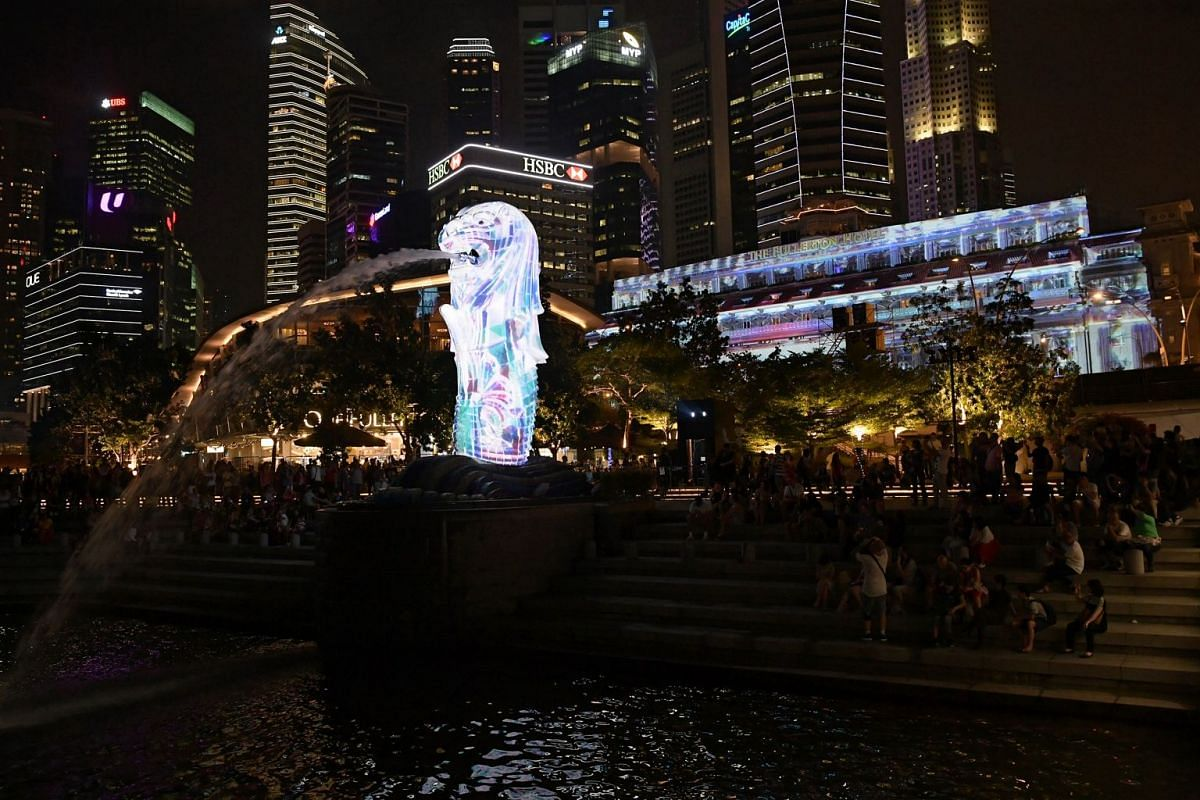 A visual spectacle takes place on the facades of The Fullerton Hotel Singapore, Merlion (above) and ArtScience Museum on the hour from 8pm tonight. One of three projection towers around the Merlion from which the light show is projected.