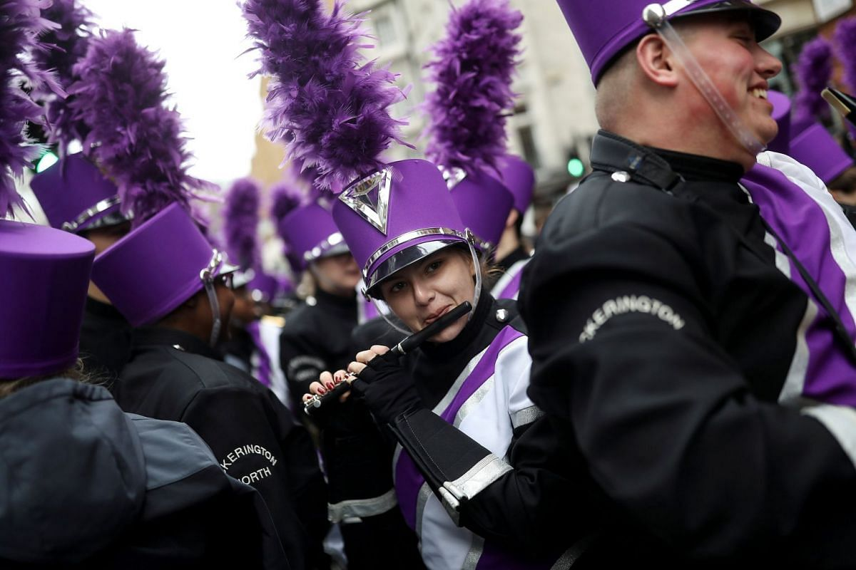 A member of a marching band performs during the New Year's Day parade in London, Britain January 1, 2018. PHOTO: REUTERS