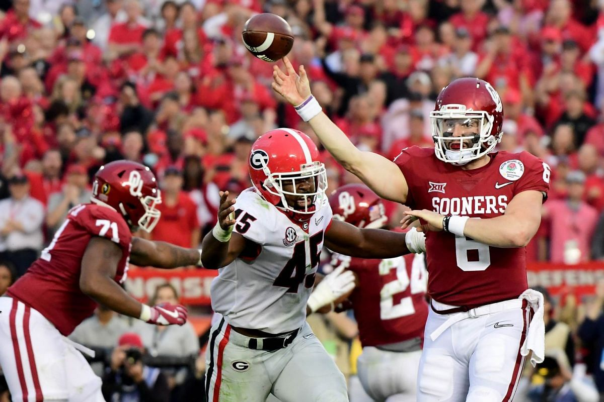 Quarterback Baker Mayfield #6 of the Oklahoma Sooners throws the ball in the second half against the Georgia Bulldogs in the 2018 College Football Playoff Semifinal at the Rose Bowl Game presented by Northwestern Mutual at the Rose Bowl on January 1,