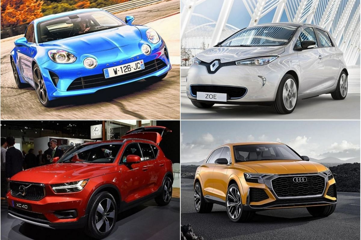 (Clockwise from top left) Alpine A110, Renault Zoe Long Range electric subcompact, Audi Q8 coupe-SUV, and the Volvo XC40.