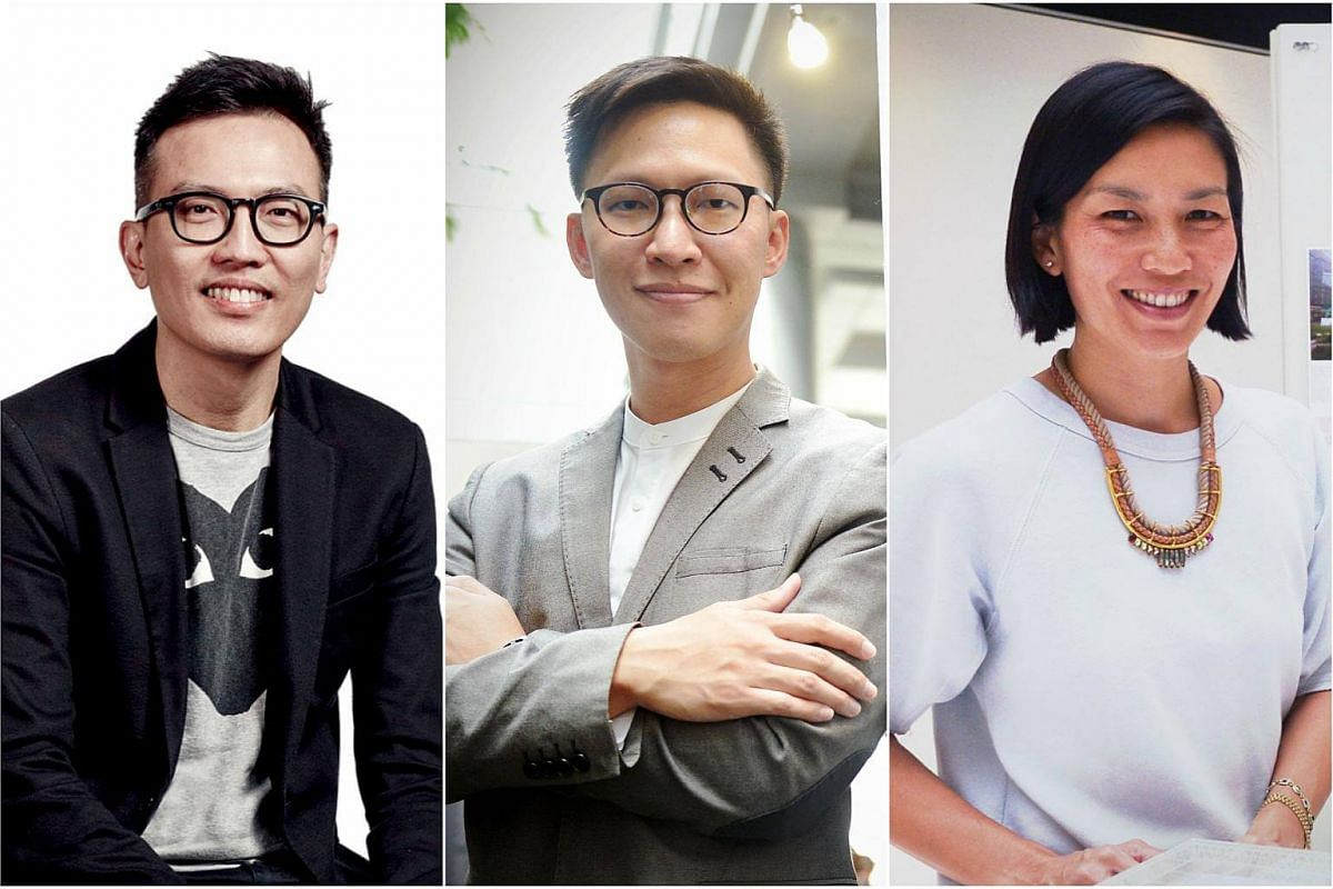 Rising architects (from left) Mr Seah Chee Huang, Mr Lawrence Ler and Ms Ong Ker Shing.