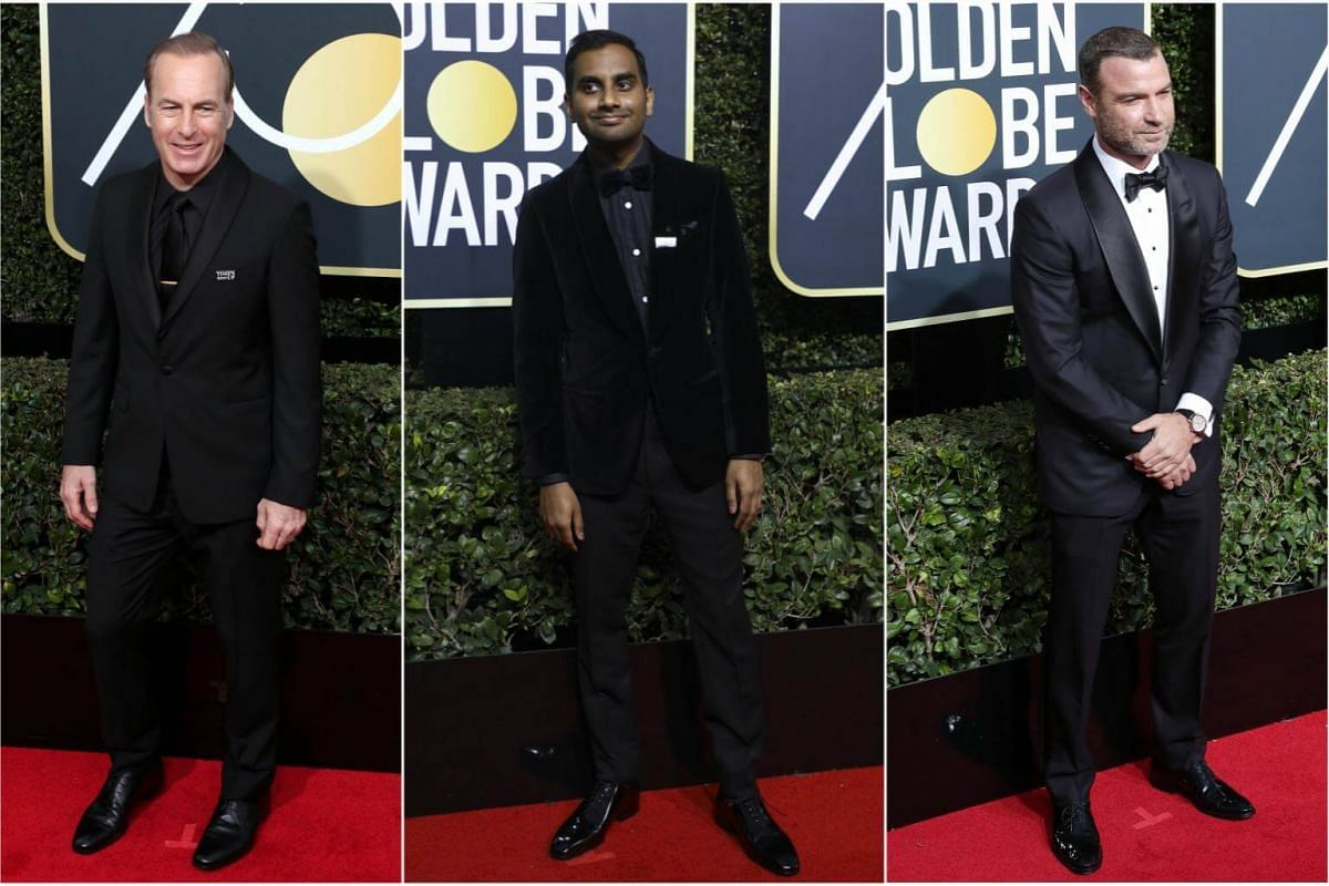 (From left) Bob Odenkirk, Aziz Ansari and Liev Schreiber arrive for the 75th annual Golden Globe Awards ceremony.