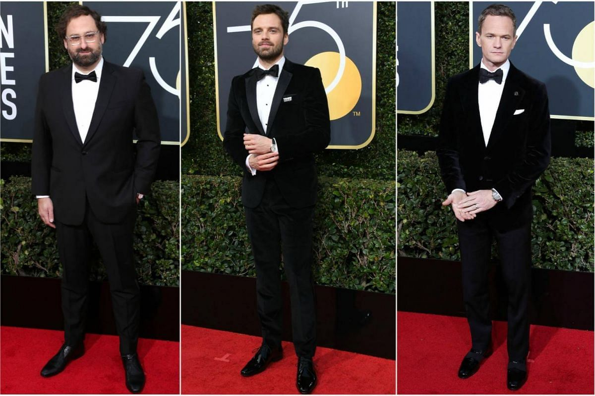(From left) Eric Wareheim, Sebastian Stan and Neil Patrick Harris arrive for the 75th annual Golden Globe Awards ceremony.