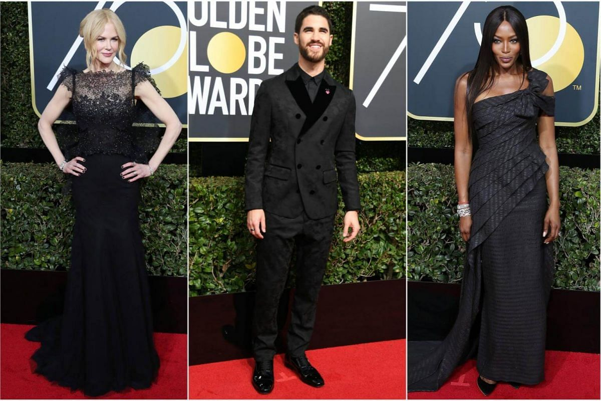 (From left) Nicole Kidman, Darren Criss and Naomi Campbell arrive for the 75th annual Golden Globe Awards ceremony.