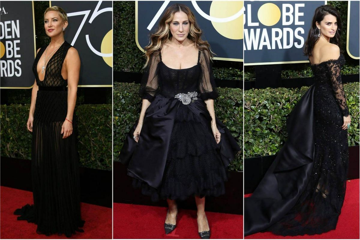 Kate Hudson, Sarah Jessica Parker and Penelope Cruz arrive for the 75th annual Golden Globe Awards ceremony.