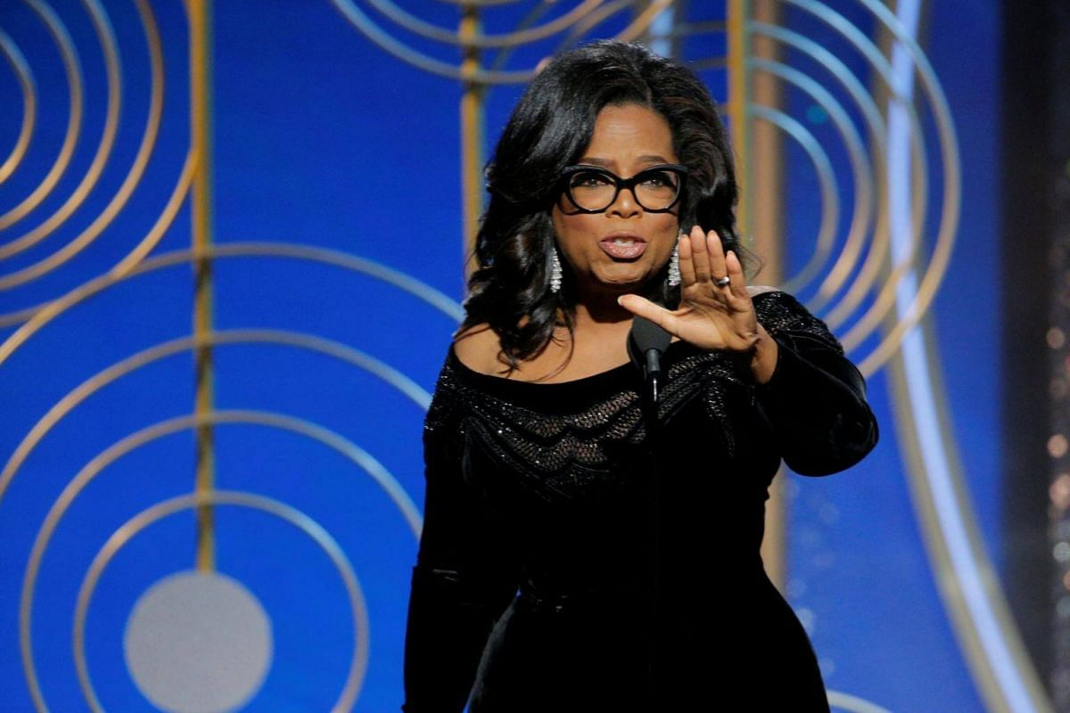 Oprah Winfrey accepting the Cecil B. Demille Award at the 75th Golden Globe Awards in Beverly Hills, California on Jan 8, 2018.