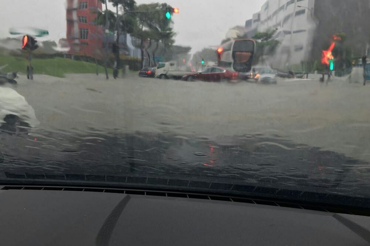 The view from the dashcam of a car that was stuck in floodwaters along Bedok North Avenue 4 on Jan 8, 2018.