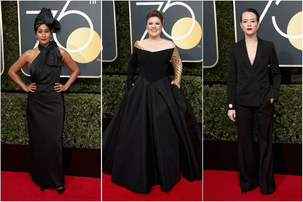 Actress Tracee Ellis, singer Kelly Clarkson, and actress Claire Foy.