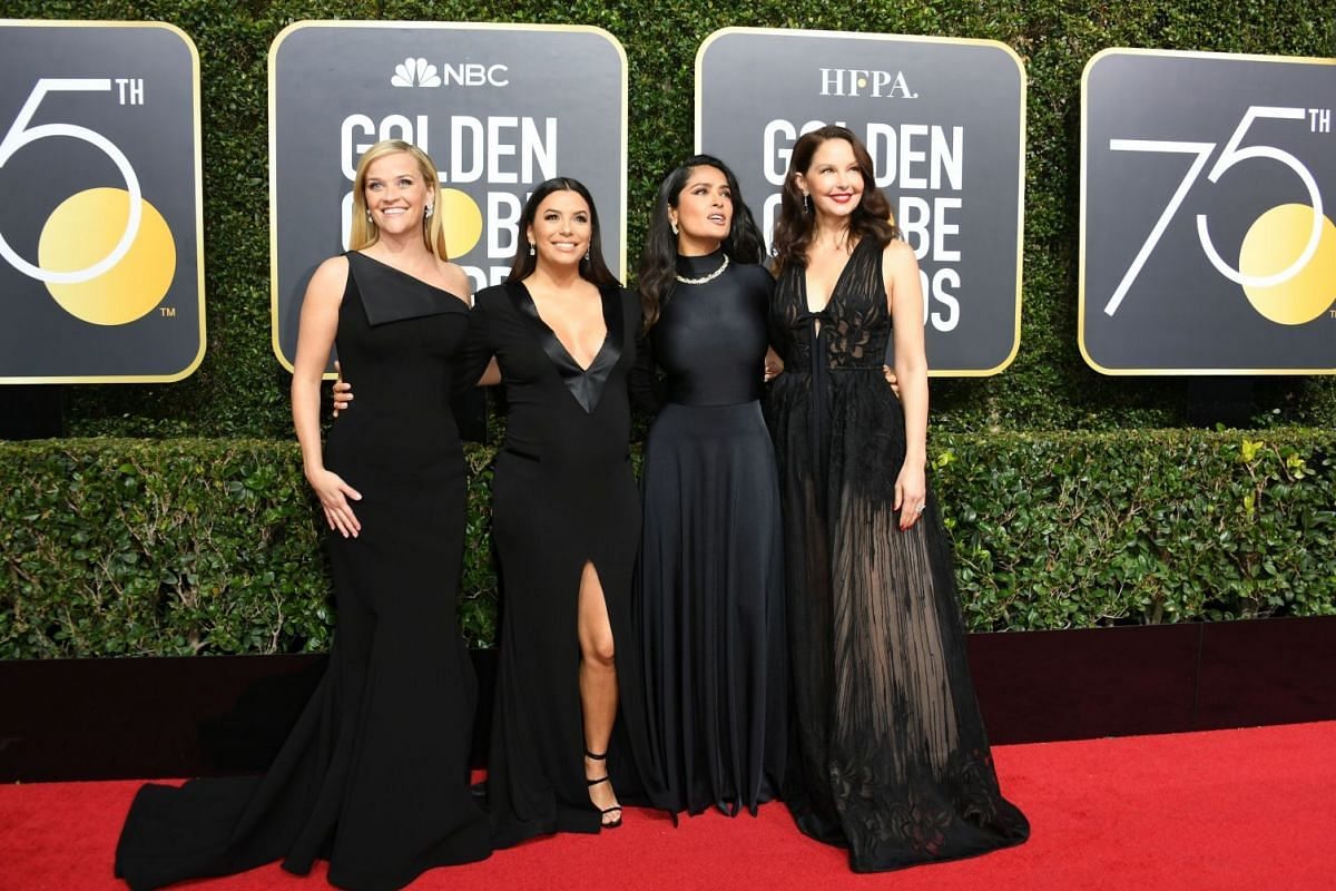 (From left) Actresses Reese Witherspoon, Eva Longoria, Salma Hayek and Ashley Judd.