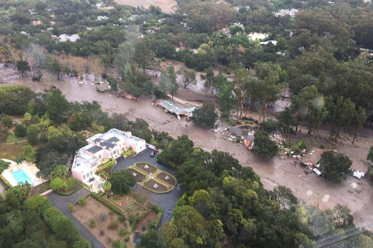 An aerial view from a Ventura Country Sheriff helicopter shows a site damaged by mudslide in Montecito, California, on Jan 9, 2017.