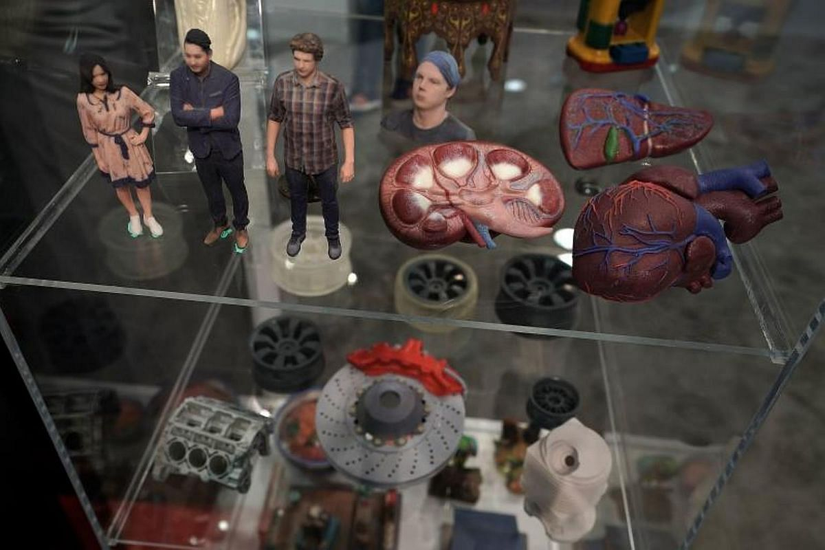 3D print outs are seen during CES 2018 at the Las Vegas Convention Center on Jan 9, 2018.