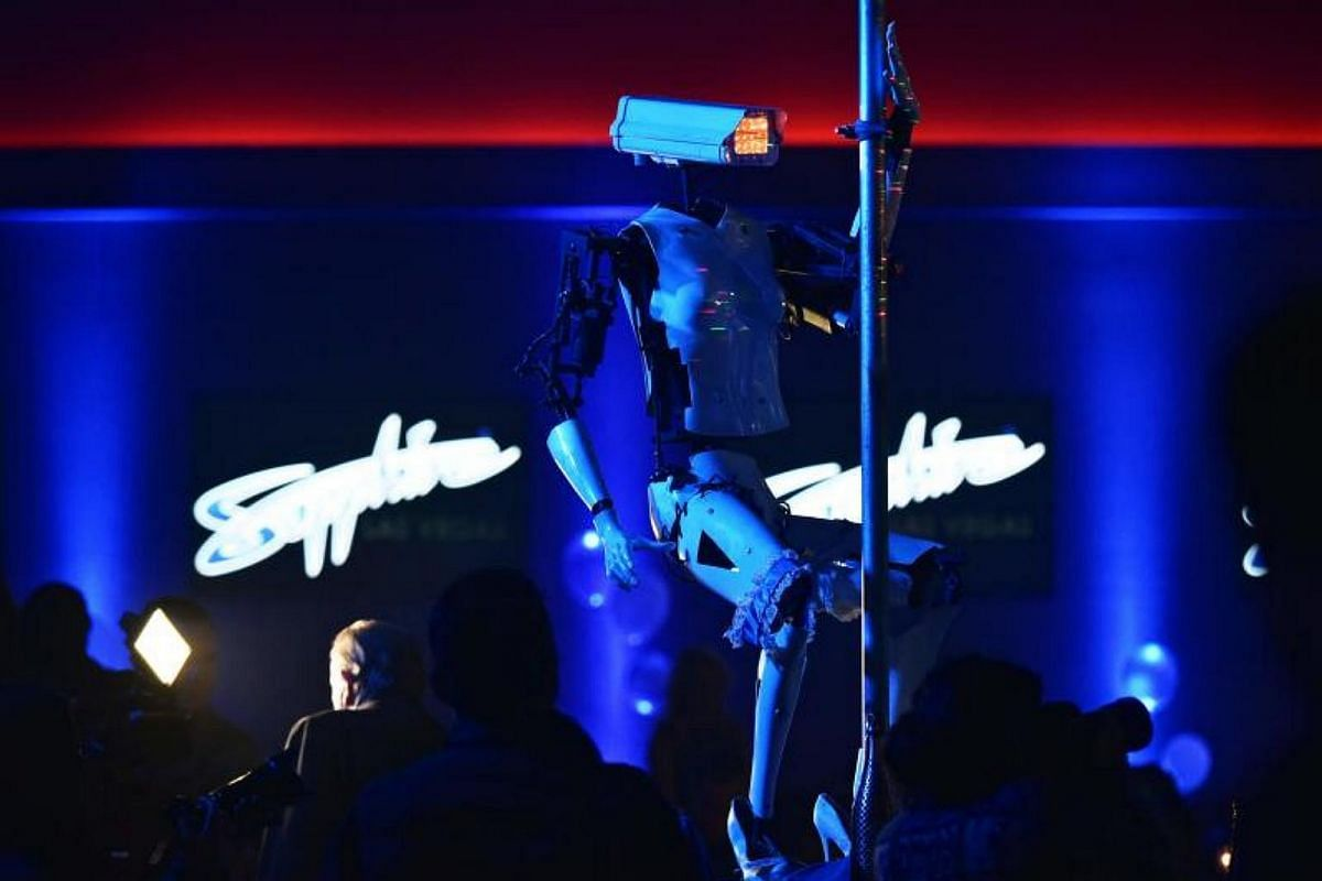 A stripper robot performs at the Sapphire Gentlemen's Club on the sidelines of CES 2018 in Las Vegas on Jan 8, 2018.