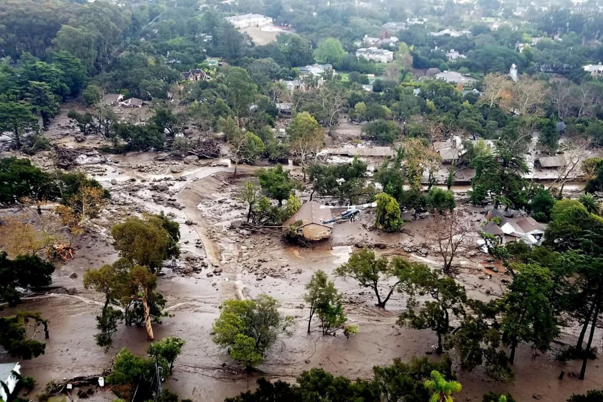 Mudflow and damage following heavy rains in Montecito, California, on Jan 10, 2018.