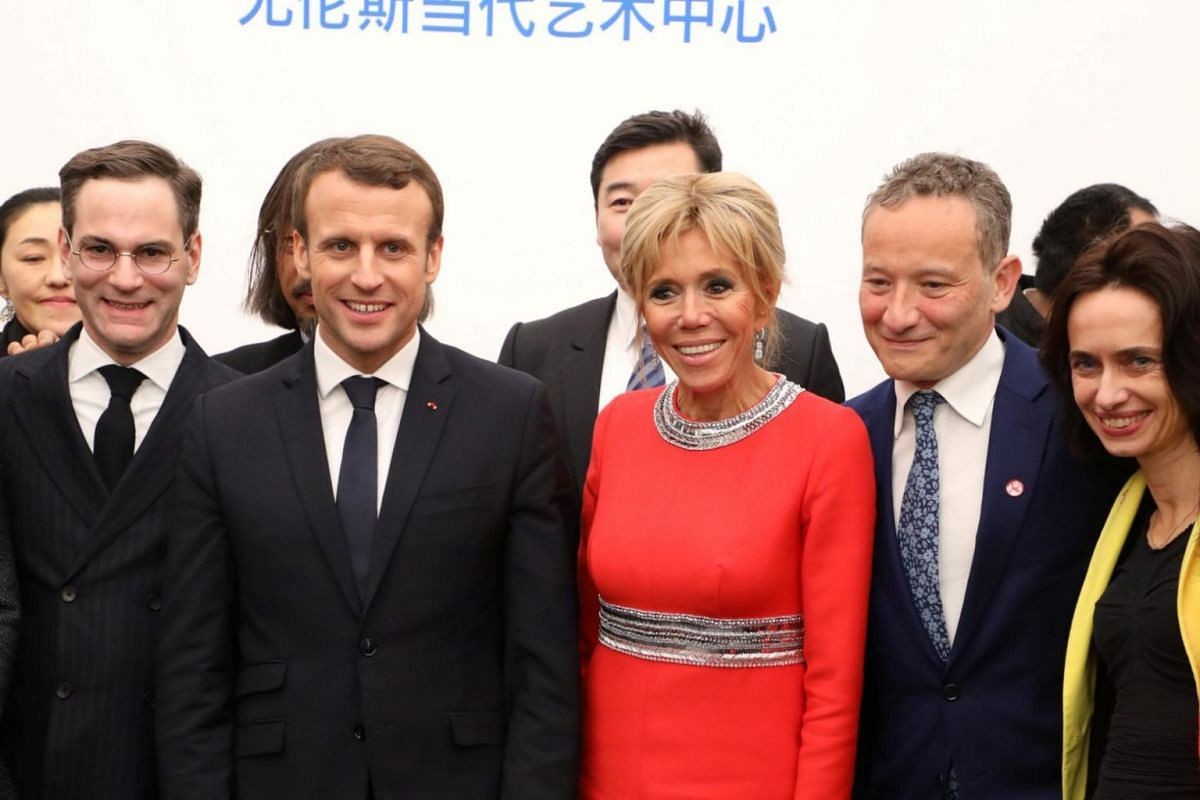 French president Emmanuel Macron and his wife Brigitte visit The Ullens Chinese Contemporary Art Centre in Beijing, China, on Jan 9.