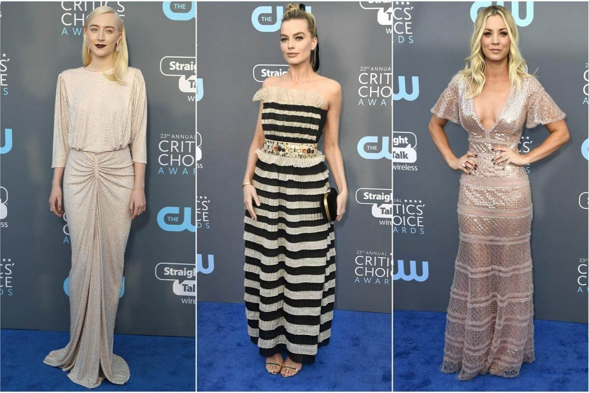 (From left) Saoirse Ronan, Margot Robbie and Kaley Cuoco arrive for the 23rd annual Critics' Choice Awards at the Barker Hanger in Santa Monica, California, on Jan 11, 2018.