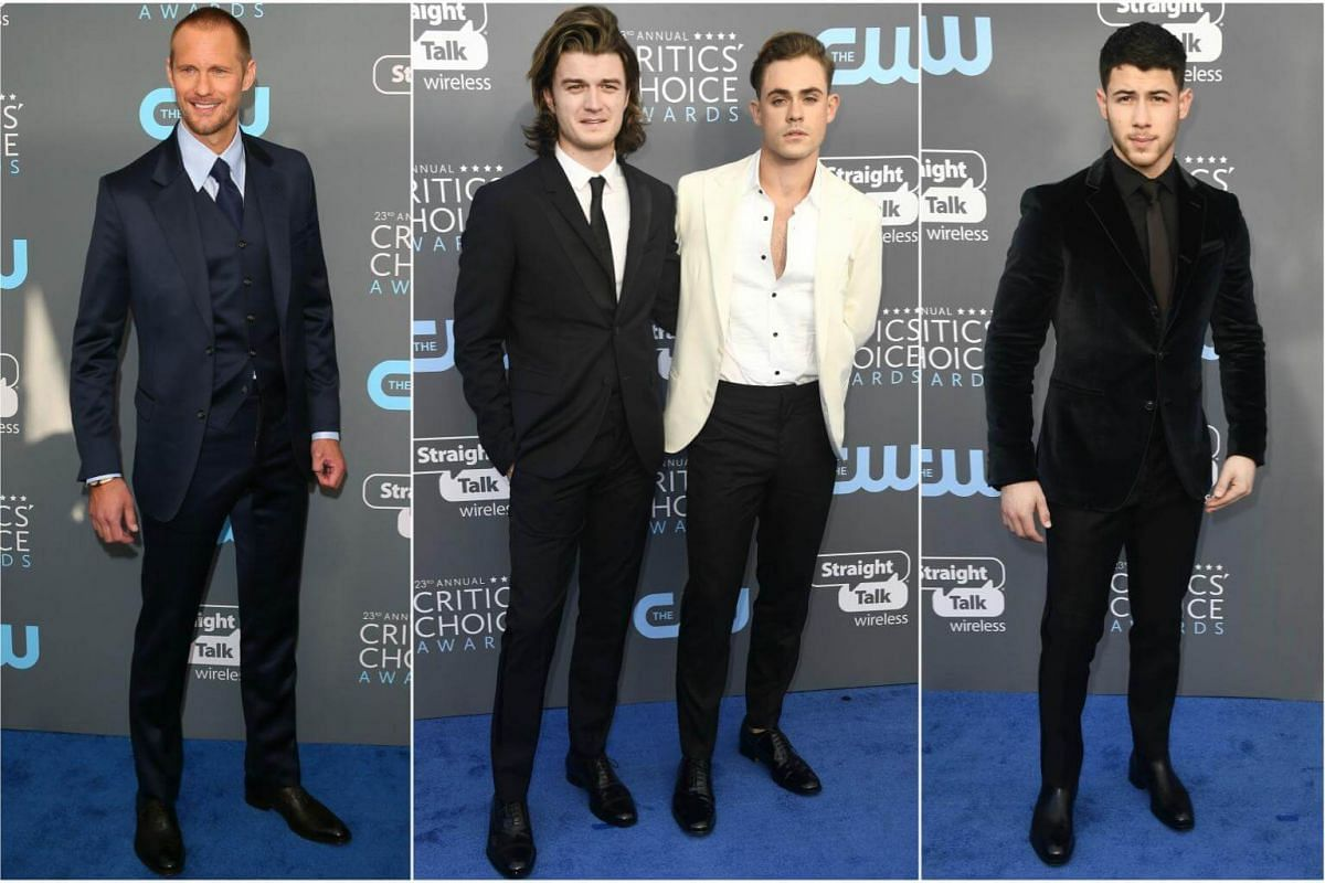 (From left) Alexander Skarsgard, Joe Keery, Dacre Montgomery and Nick Jonas arrive for the 23rd annual Critics' Choice Awards at the Barker Hanger in Santa Monica, California, on Jan 11, 2018.