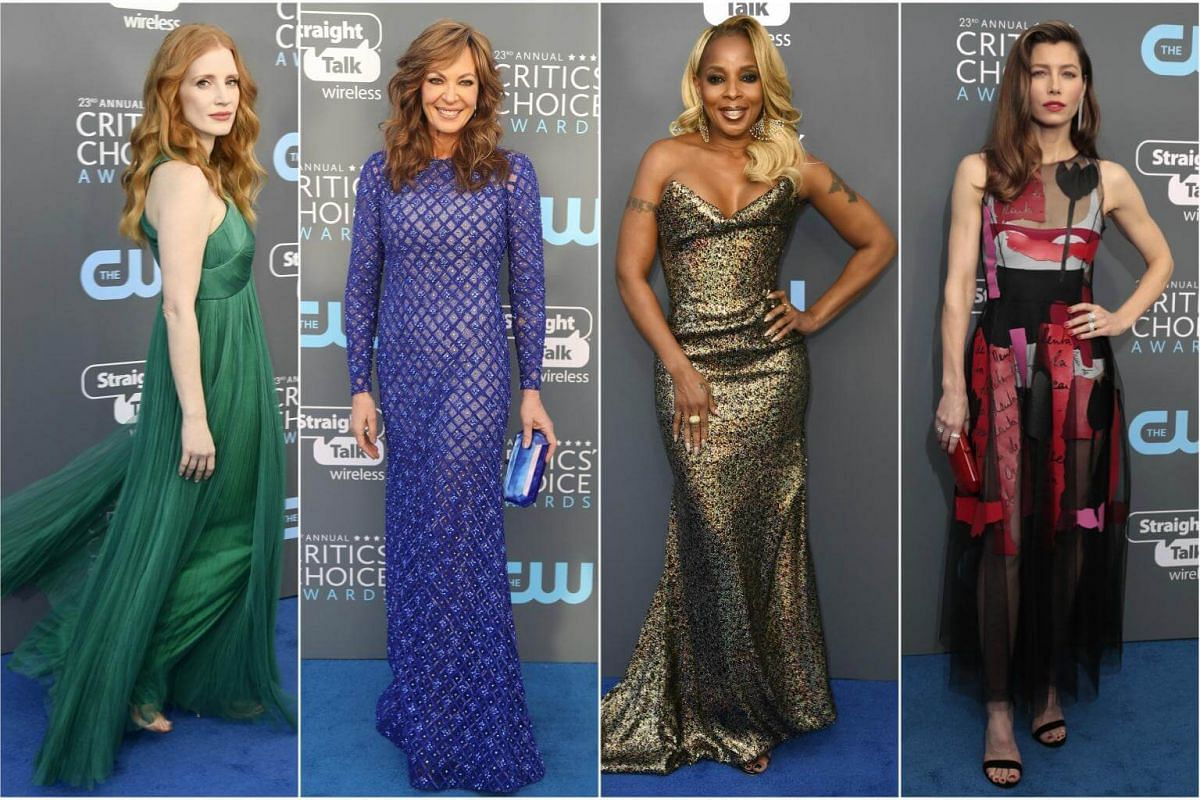 (From left) Jessica Chastain, Allison Janney, Mary J. Blige and Jessica Biel arrive for the 23rd annual Critics' Choice Awards at the Barker Hanger in Santa Monica, California, on Jan 11, 2018.