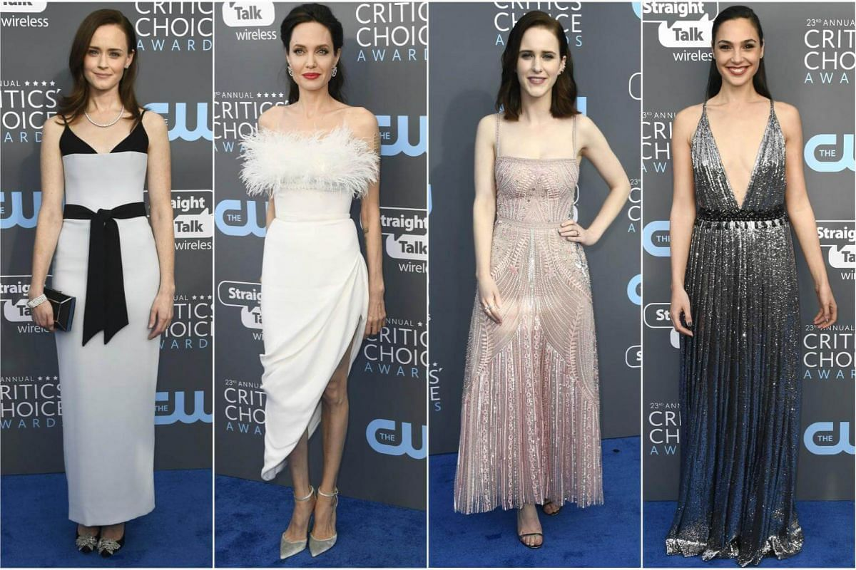 (From left) Alexis Bledel, Angelina Jolie, Rachel Brosnahan and Gal Gadot arrive for the 23rd annual Critics' Choice Awards at the Barker Hanger in Santa Monica, California, on Jan 11, 2018.