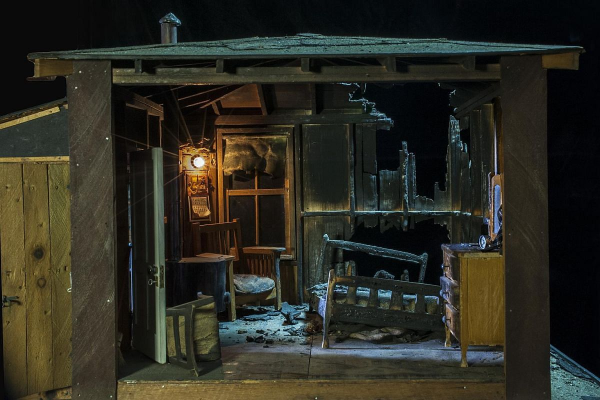 An undated handout image showing Burned Cabin, a miniature crime scene created circa 1944 by Frances Glessner Lee.