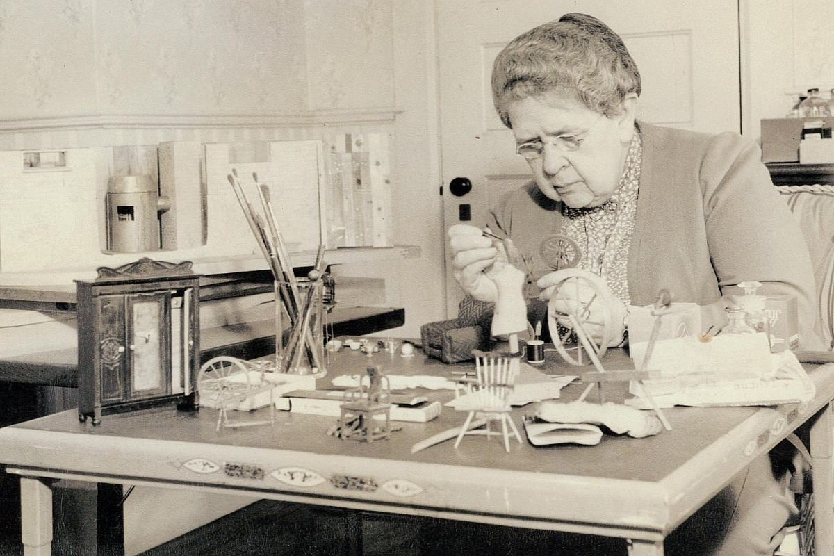 In an undated handout photo, Frances Glessner Lee crafting a miniature crime diorama in the early 1940s.
