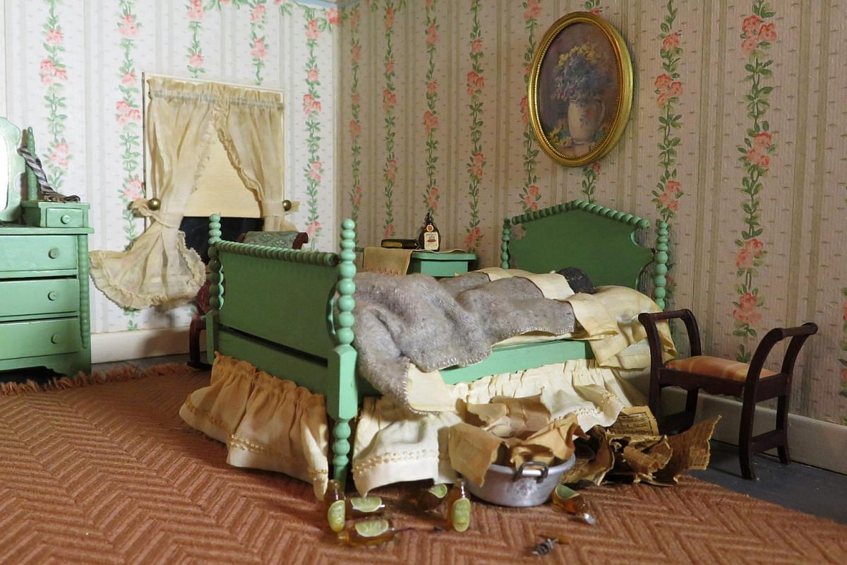 An undated handout image shows a detail from Striped Bedroom, a miniature crime scene created circa 1943 by Frances Glessner Lee.