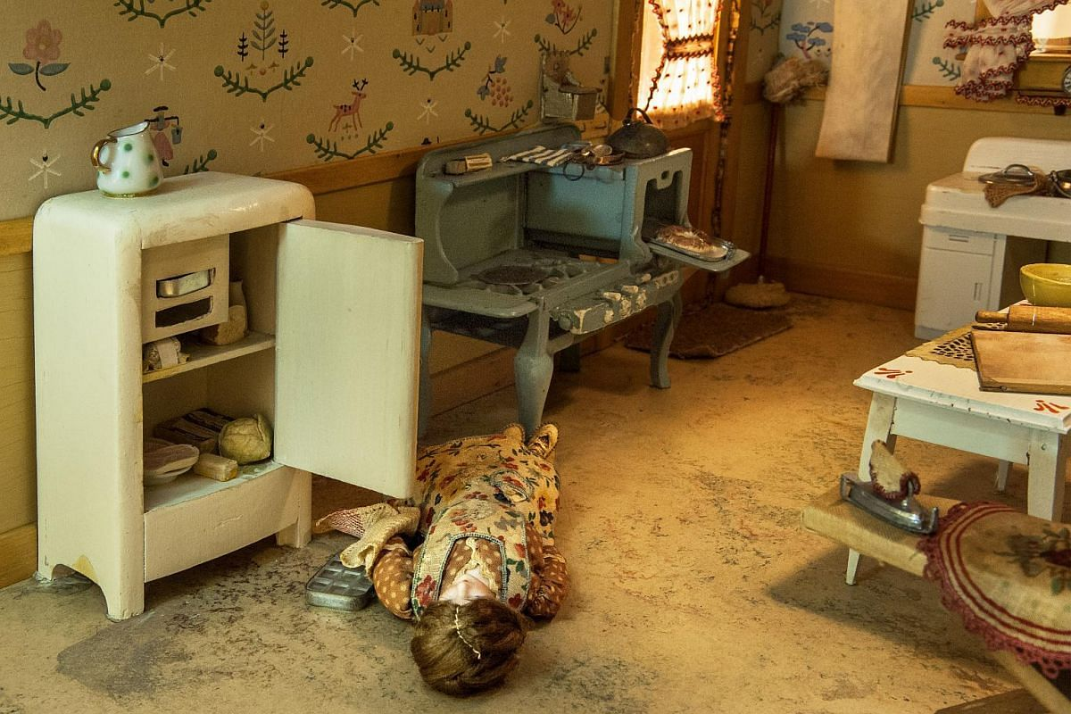 An undated handout image shows Kitchen, a miniature crime scene created circa 1944 by Frances Glessner Lee.