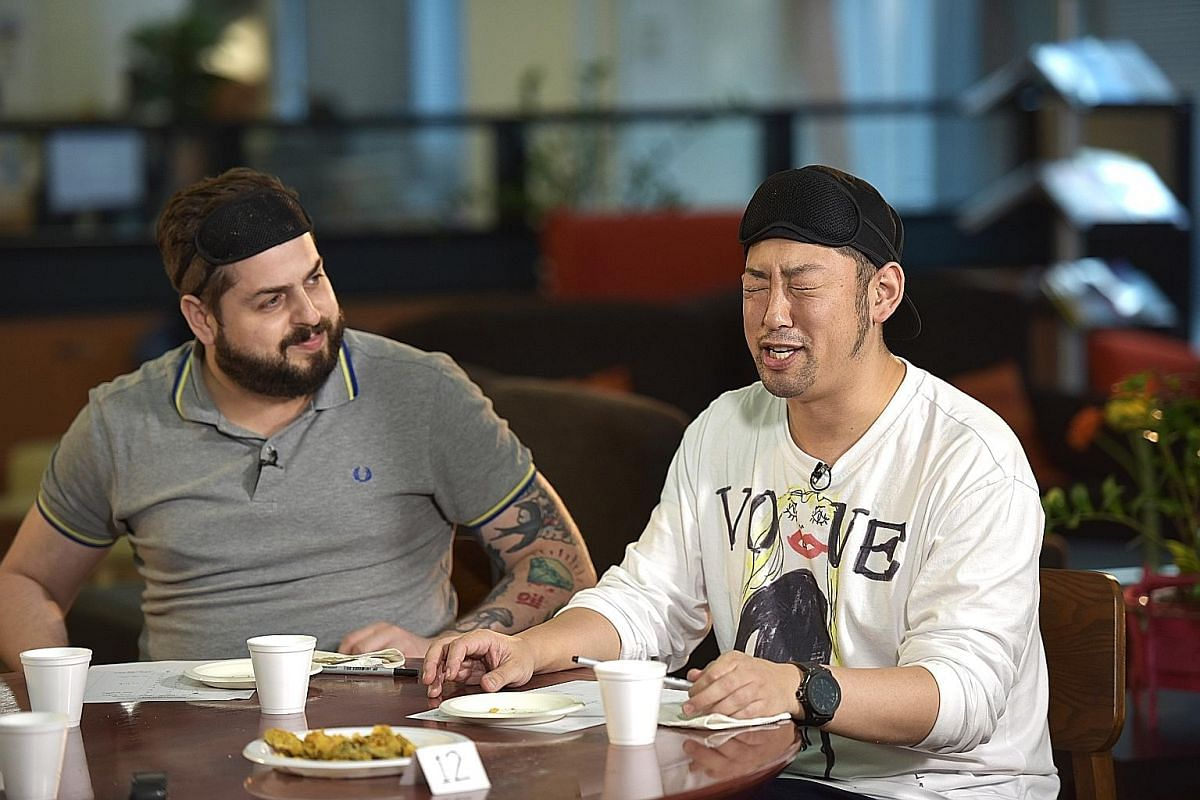 Chefs Aitor Jeronimo Orive and Kenjiro Hashida (both above) are part of the panel that judged 17 brands of the salted egg yolk snacks. Ms Esther Chew is the production director of the Aunty Esther's brand, which started in November last year.