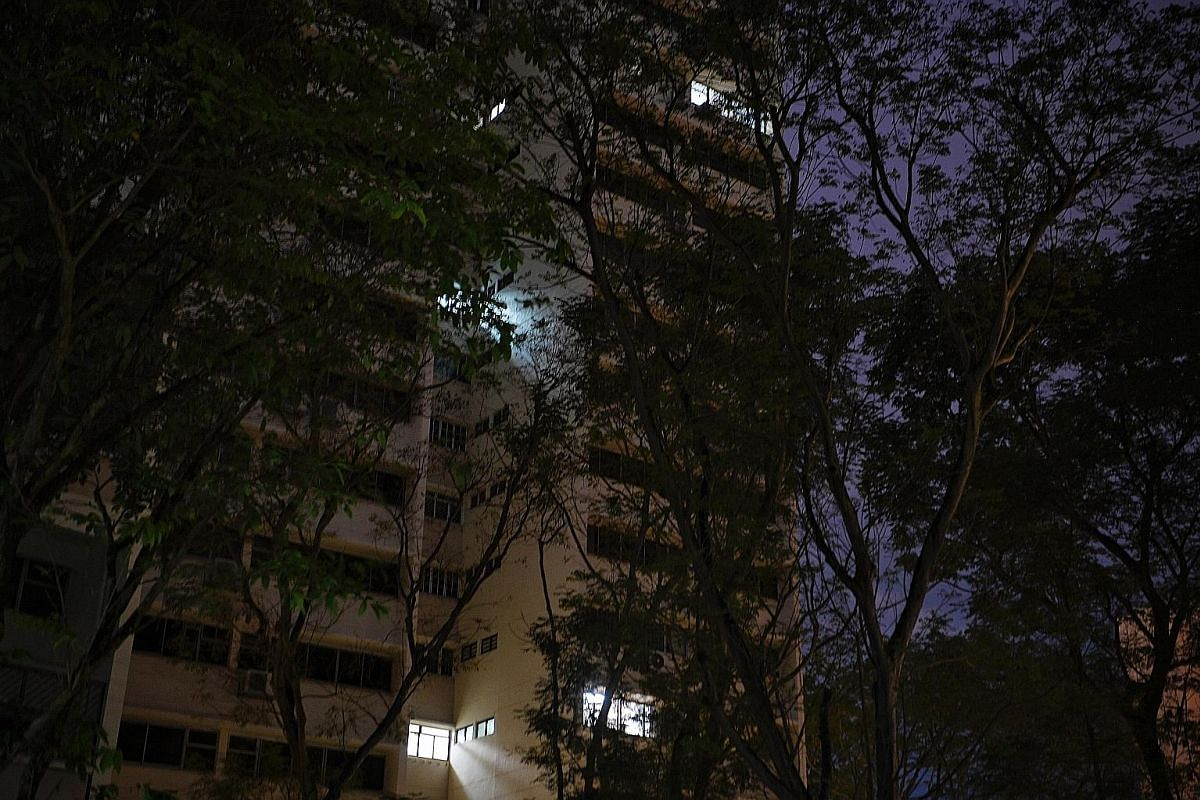 Above: Only a handful of units remain lighted at night. The estate has resembled a ghost town as the Jan 18 deadline nears for residents to move out. Left: Shunfu Ville was built in 1985 by the Housing and Urban Development Company (HUDC) and privati