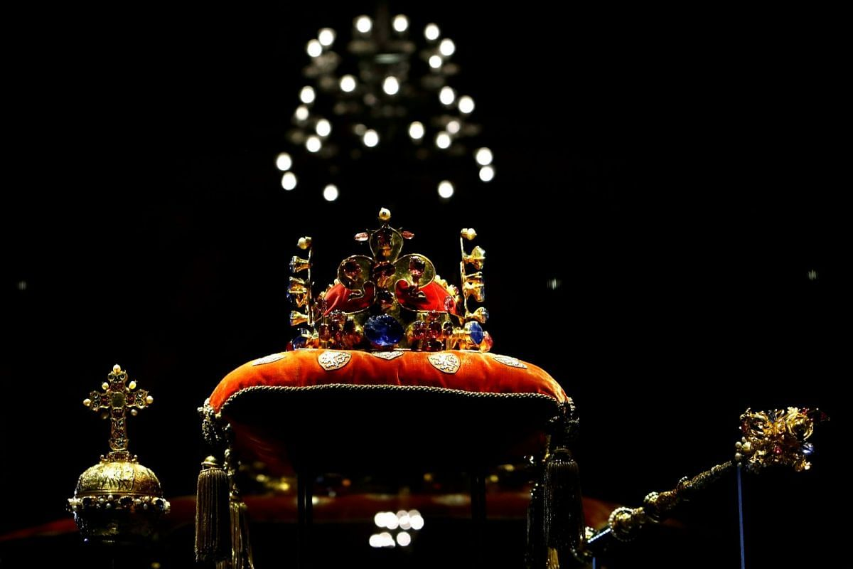 The Bohemian Crown Jewels rest on a cushion after being removed from their case at Prague Castle to be displayed for the public, marking the 100th anniversary of the founding of Czechoslovakia in Prague, Czech Republic, January 15, 2018.