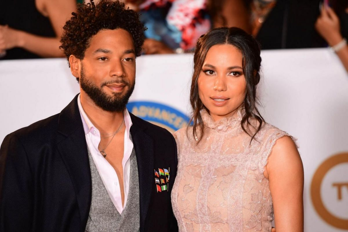 Actor-singer Jussie Smollett (left) with his sister Jurnee Smollett on the red carpet for the NAACP awards.
