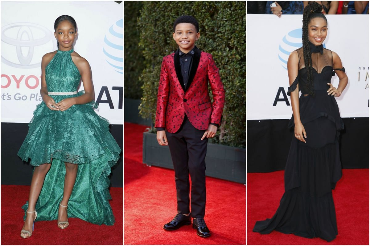 From left: Star of Black-ish Marsai Martin, actor Lonnie Chavis and actress Yara Shahidi arrive for the NAACP awards.