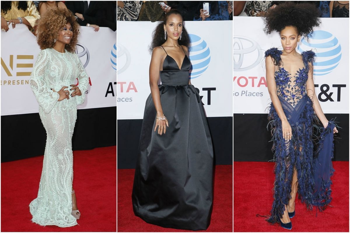 It's all about the big hair (from left): Actress Tanika Ray, hip hop singer Niatia Jessica Kirkland Lil Mama and Scandal star Kerry Washington go with different takes on the Afro.